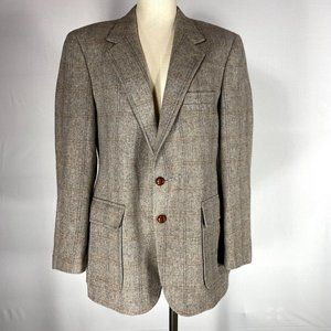 Hardy Amies Camel Hair Herringbone Jacket Sz 38**